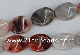 CTW68 15.5 inches 15*20mm twisted oval agate gemstone  beads