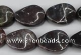 CTW74 15.5 inches 15*20mm twisted oval moss agate gemstone beads