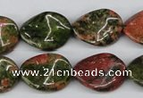 CTW81 15.5 inches 15*20mm twisted oval unakite gemstone beads