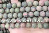 CUG193 15.5 inches 10mm round matte unakite beads wholesale