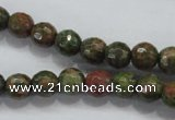 CUG300 15.5 inches 4mm faceted round unakite gemstone beads