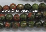 CUG301 15.5 inches 6mm faceted round unakite gemstone beads