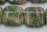 CUG61 16 inches 25*25mm square natural unakite gemstone beads wholesale