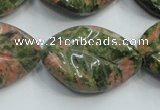 CUG64 16 inches 22*30mm twisted leaf natural unakite beads wholesale