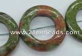 CUG76 15.5 inches 30mm donut unakite gemstone beads wholesale