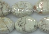 CWB01 15.5 inches 18*25mm carved oval natural white howlite gemstone beads