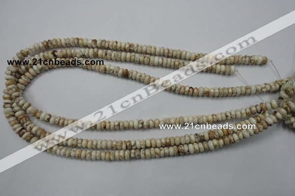 CWB320 15.5 inches 3*6mm rondelle natural howlite turquoise beads