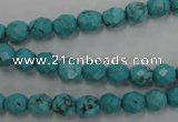 CWB421 15.5 inches 6mm faceted round howlite turquoise beads