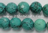 CWB426 15.5 inches 14mm faceted round howlite turquoise beads