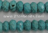 CWB447 15.5 inches 8*12mm faceted rondelle howlite turquoise beads