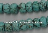 CWB449 15.5 inches 8*12mm faceted rondelle howlite turquoise beads