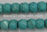 CWB450 15.5 inches 10*12mm faceted rondelle howlite turquoise beads