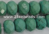 CWB456 15.5 inches 12*16mm faceted rondelle howlite turquoise beads