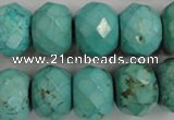 CWB459 15.5 inches 12*18mm faceted rondelle howlite turquoise beads