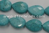 CWB504 15.5 inches 13*18mm faceted flat teardrop howlite turquoise beads