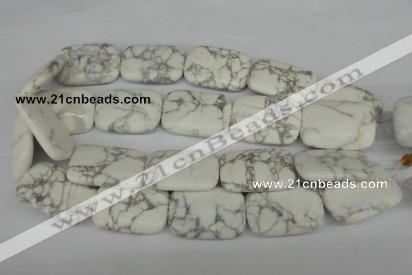 CWB61 15.5 inches 25*35mm rectangle natural white howlite beads