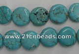 CWB703 15.5 inches 12mm flat round howlite turquoise beads