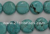 CWB704 15.5 inches 14mm flat round howlite turquoise beads