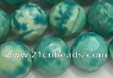 CWB882 15.5 inches 8mm round faceted howlite turquoise beads