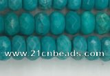 CWB902 15.5 inches 4*6mm faceted rondelle howlite turquoise beads