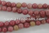 CWF11 15.5 inches 6mm round pink wooden fossil jasper beads wholesale