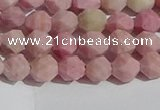 CWF30 6mm faceted nuggets matte pink wooden fossil jasper beads