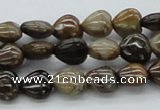 CWJ07 15.5 inches 10*10mm heart wood jasper gemstone beads wholesale