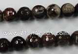 CWJ213 15.5 inches 10mm faceted round wood jasper gemstone beads