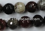 CWJ216 15.5 inches 16mm faceted round wood jasper gemstone beads