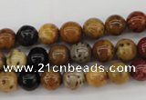 CWJ281 15.5 inches 7mm round wood jasper gemstone beads wholesale