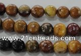 CWJ302 15.5 inches 8mm faceted round wood jasper gemstone beads