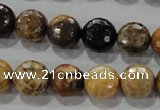 CWJ306 15.5 inches 12mm faceted round wood jasper gemstone beads