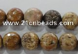 CWJ307 15.5 inches 14mm faceted round wood jasper gemstone beads