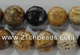 CWJ308 15.5 inches 15mm faceted round wood jasper gemstone beads