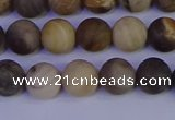 CWJ412 15.5 inches 8mm round matte wood jasper beads wholesale