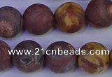 CWJ425 15.5 inches 14mm round matte wood eye jasper beads