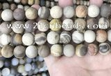 CWJ443 15.5 inches 10mm round matte wood jasper beads wholesale