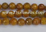 CWJ468 15.5 inches 4mm faceted round yellow petrified wood jasper beads
