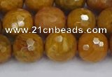 CWJ472 15.5 inches 12mm faceted round yellow petrified wood jasper beads