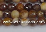 CWJ476 15.5 inches 6mm faceted round wood jasper gemstone beads