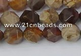 CWJ484 15.5 inches 8mm faceted nuggets wood jasper beads