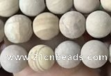 CWJ520 15.5 inches 4mm round matte wooden jasper beads wholesale