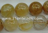 CYC106 15.5 inches 16mm round yellow crystal quartz beads
