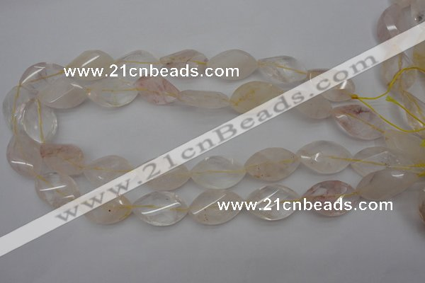 CYC201 15.5 inches 15*25mm twisted & faceted marquise yellow quartz beads