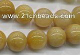 CYJ401 15.5 inches 6mm round yellow jade gemstone beads