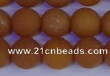 CYJ614 15.5 inches 12mm round matte yellow jade beads wholesale
