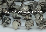 CZJ12 16 inches 10*14mm flat teardrop zebra jasper gemstone beads