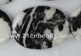 CZJ222 15.5 inches 30*40mm oval black & white zebra jasper beads