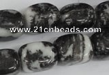 CZJ235 15.5 inches 13*18mm nugget black & white zebra jasper beads