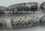 CZJ50 16 inches 12*40mm Cylinder zebra jasper gemstone beads wholesale